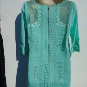 Yoana Baraschi Teal crochet/lace Dress